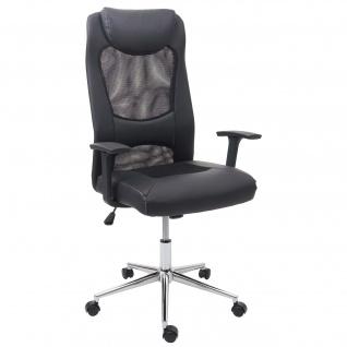 Bürostuhl HWC-E69, Schreibtischstuhl Chefsessel Drehstuhl, Kunstleder + Stoff/Textil schwarz
