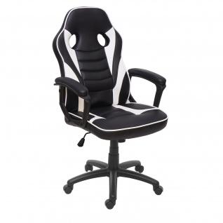 Bürostuhl HWC-F59, Schreibtischstuhl Drehstuhl Racing-Chair Gaming-Chair, Kunstleder ~ schwarz/weiß - Vorschau 2