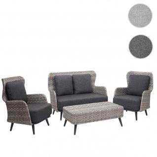 Poly-Rattan Gartengarnitur HWC-G53, Lounge-Set Sofa Sitzgruppe, Spun Poly ~ grau, Polster dunkelgrau
