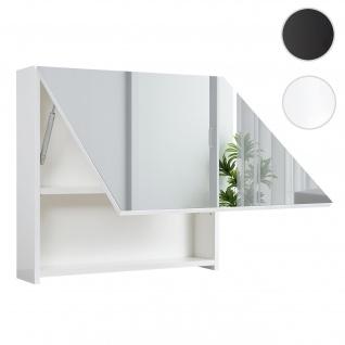 Spiegelschrank HWC-C11, Wandspiegel Badspiegel Badezimmer, aufklappbar hochglanz 58x60cm weiß