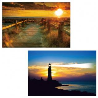 2x LED-Bild Leinwandbild Leuchtbild Wandbild 40x60cm, Timer ~ Sea