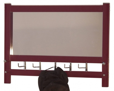 Wandgarderobe mit Spiegel H74, Wandspiegel Spiegel Garderobe, 50x69x9cm ~ brombeerfarben