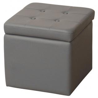 Sitzhocker H112, Sitzwürfel Hocker, Kunstleder grau