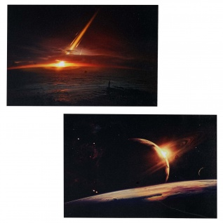 2x LED-Bild Leinwandbild Leuchtbild Wandbild 40x60cm, Timer ~ Planet