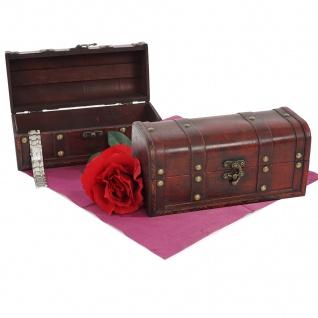 2er Set Holztruhe Holzbox Valence Antikoptik 13x29x14cm rund
