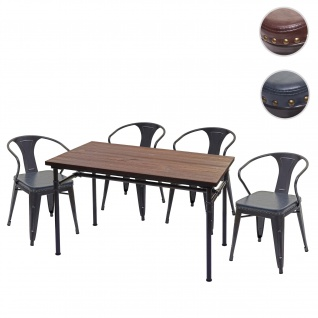 Esszimmer-Set HWC-H10, 4x Esszimmerstuhl Esszimmertisch, Ulme Holz FSC Industrial Gastronomie ~ grau