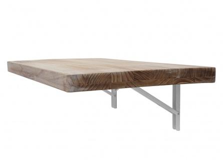 Wandtisch HWC-H48, Wandklapptisch Wandregal Tisch, klappbar Massiv-Holz ~ 120x60cm naturfarben - Vorschau 5