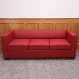 3er Sofa Couch Loungesofa Lille, Textilleder rot