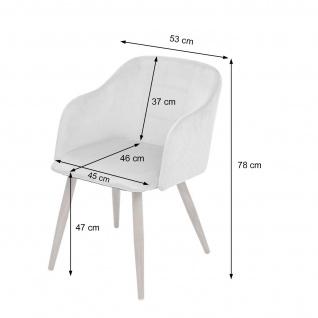2x Esszimmerstuhl HWC-D71, Stuhl Küchenstuhl, Retro Design, Armlehnen Stoff/Textil ~ creme-beige - Vorschau 2