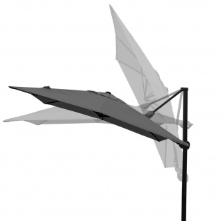 Gastronomie-Ampelschirm HWC-A39, 3x3m (Ø4, 24m) schwenkbar drehbar, Polyester/Alu 31kg ~ anthrazit ohne Ständer - Vorschau 4