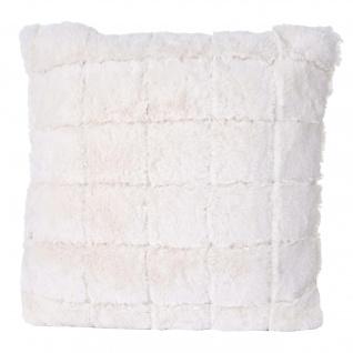 Deko-Kissen Karo, Sofakissen Zierkissen mit Füllung, flauschig weiß Fellimitat 45x45cm