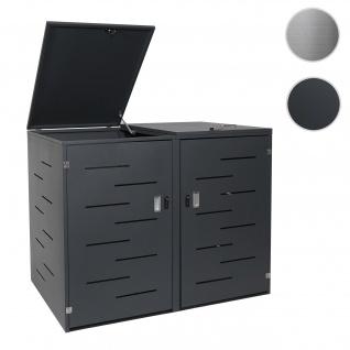 2er-Mülltonnenverkleidung HWC-E83, Mülltonnenbox Mülltonnenabdeckung, erweiterbar 108x61x76cm ~ Stahl anthrazit