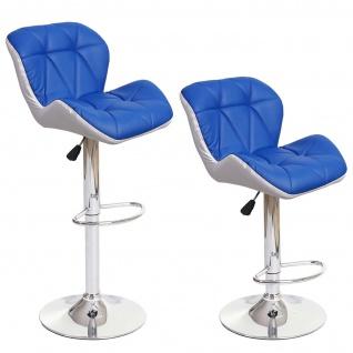 2x Barhocker HWC-A92, Barstuhl Tresenhocker, höhenverstellbar Kunstleder ~ blau - Vorschau 3