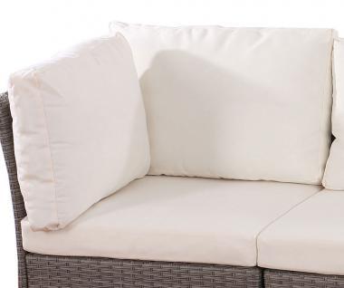 Poly-Rattan Sofa Siena modulare Gastronomie-Qualität creme Sitz-, Rücken- und Seitenkissen