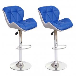2x Barhocker HWC-A92, Barstuhl Tresenhocker, höhenverstellbar Kunstleder ~ blau - Vorschau 2