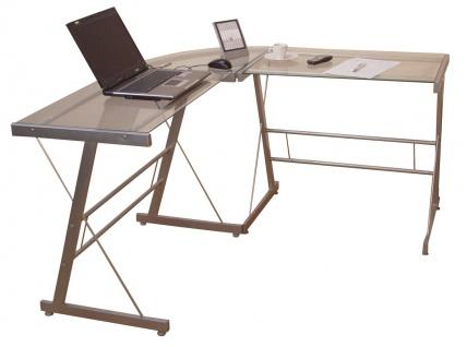 Schreibtisch H103, Eckschreibtisch Computertisch Bürotisch, Glastischplatte - Vorschau