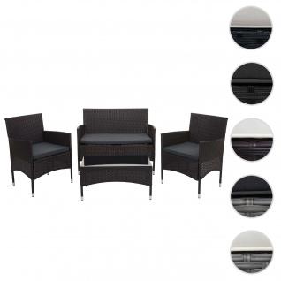 Poly-Rattan Garnitur HWC-F55, Balkon-/Garten-/Lounge-Set Sofa Sitzgruppe ~ braun, Kissen dunkelgrau