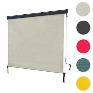 Vertikalmarkise HWC-F42, Senkrechtmarkise Sichtschutz Außenrollo Rollo, UV-Schutz 50 Stoff ~ 250x180cm, creme-beige