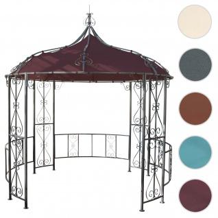 Pergola Almeria, Rundpavillon Garten Pavillon, stabiles Stahl-Gestell Ø 3m ~ rot-braun