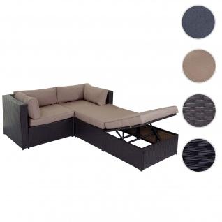 Poly-Rattan-Garnitur Adana, Gartengarnitur Sitzgruppe Lounge-Set, Alu braun, Kissen beige