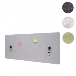 Akustik-Tischtrennwand HWC-G75, Büro-Sichtschutz Schreibtisch Pinnwand, doppelwandig Stoff/Textil ~ 140x60cm grau