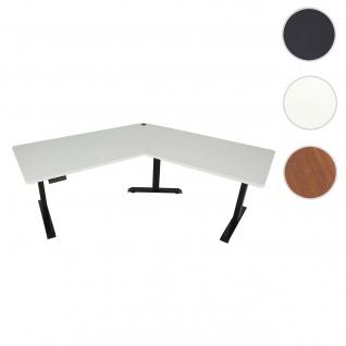 Schreibtisch HWC-D40, Computertisch, 120° elektrisch höhenverstellbar ~ weiß, schwarz
