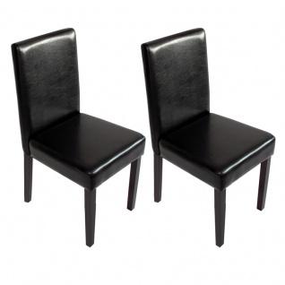 2x Esszimmerstuhl Stuhl Küchenstuhl Littau ~ Kunstleder, schwarz, dunkle Beine