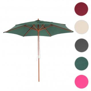 Sonnenschirm Florida, Gartenschirm Marktschirm, Ø 3m Polyester/Holz ~ olivgrün
