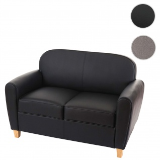 2er Sofa Malmö T377, Couch, Retro schwarz, Kunstleder