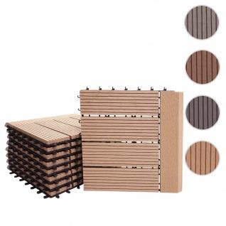 WPC Bodenfliese Rhone + Abschluss, Holzoptik Balkon/Terrasse, 11x je 30x30cm = 1qm Premium ~ teak linear waagrecht
