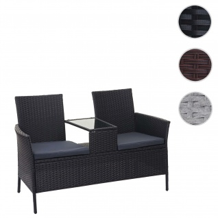 Poly-Rattan Sitzbank mit Tisch HWC-E24, Gartenbank Sitzgruppe Gartensofa, 132cm ~ schwarz, Kissen dunkelgrau