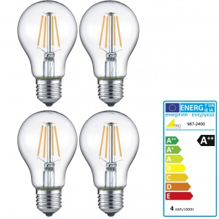 Trio LED-Leuchtmittel RL187, Filament Glühbirne Leuchte, E27 4W warmweiß EEK A++ ~ 4er Set