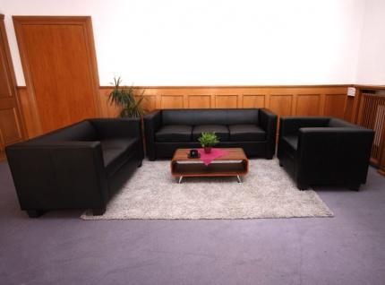 3-2-1 Sofagarnitur Couchgarnitur Loungesofa Lille ~ Kunstleder, schwarz