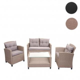XXL Poly-Rattan Garnitur HWC-F10, Balkon-/Garten-/Lounge-Set Sitzgruppe, Sofa Sessel mit Kissen Spun Poly ~ grau-braun
