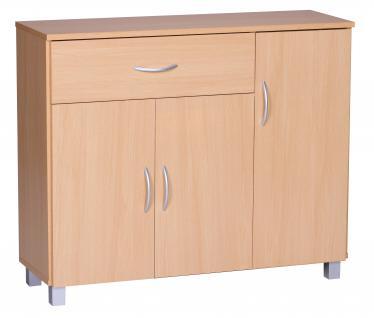 Sideboard A050 Kommode Schrank, 90 x 75 cm mit 3 Türen & 1 Schublade ~ buche