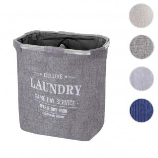 Wäschesammler HWC-C34, Laundry Wäschebox Wäschekorb Wäschebehälter mit Netz, 2 Fächer 56x49x30cm 82l ~ grau