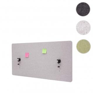 Akustik-Tischtrennwand HWC-G75, Büro-Sichtschutz Schreibtisch Pinnwand, doppelwandig Stoff/Textil ~ 120x60cm grau