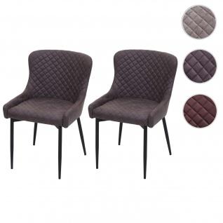 2x Esszimmerstuhl HWC-H79, Küchenstuhl Lehnstuhl Stuhl, Vintage Metall ~ Stoff/Textil dunkelgrau