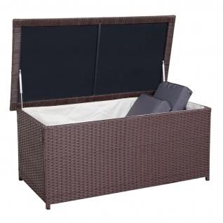 Poly-Rattan Kissenbox HWC-D43, Truhe Auflagenbox Gartentruhe, 51x115x58cm 220l braun - Vorschau 2