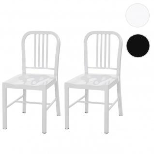 2x Esszimmerstuhl HWC-A73, Stuhl Küchenstuhl, Metall Industriedesign weiß
