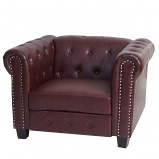 Luxus Loungesessel Chesterfield ~ eckige Füße, rot-braun
