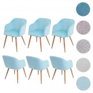 6x Esszimmerstuhl HWC-D71, Stuhl Küchenstuhl, Retro Design, Armlehnen Stoff/Textil ~ Samt türkis