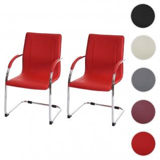 2x Esszimmerstuhl Samara, Freischwinger Küchenstuhl Lehnstuhl Stuhl, Stahl ~ rot
