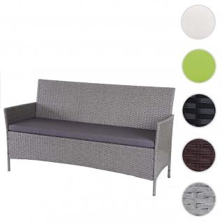3-Sitzer Poly-Rattan Gartenbank Halden, Sitzbank ~ grau, Kissen anthrazit