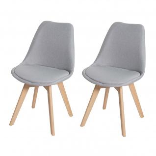 2x Esszimmerstuhl HWC-E53, Stuhl Küchenstuhl, Retro Design Stoff/Textil grau, helle Beine