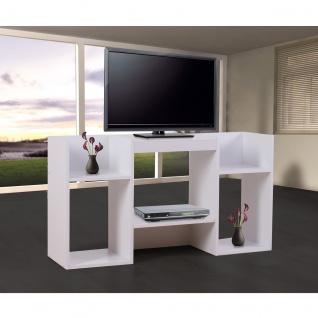 TV-Rack Fernsehtisch Standregal aus Holz 109x59x30 cm weiß