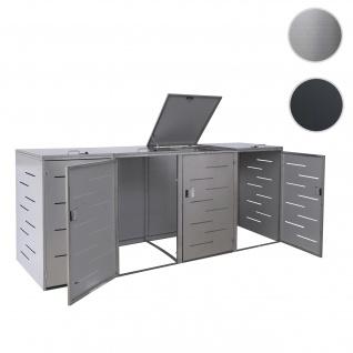 4er-Mülltonnenverkleidung HWC-E83, Mülltonnenbox Mülltonnenabdeckung, erweiterbar 108x61x76cm ~ Edelstahl
