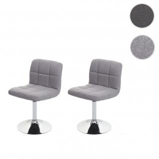 2x Esszimmerstuhl Kavala, Küchenstuhl Stuhl, Stoff/Textil Chrom drehbar ~ hellgrau