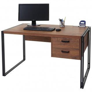 Schreibtisch HWC-A27, Bürotisch Computertisch, 76x122x73cm 3D-Struktur, Wildeiche-Optik
