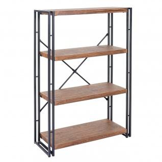 Bücherregal HWC-A27, Standregal Wohnregal, 121x80cm 3D-Struktur 4 Ebenen, Wildeiche-Optik